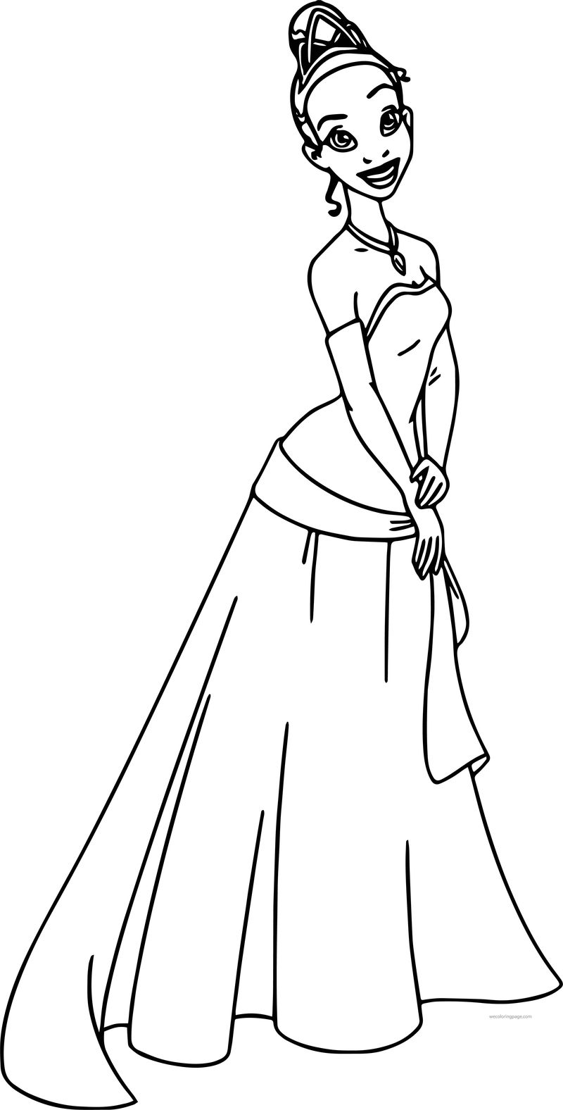 Disney The Princess And The Frog Beautiful Dress Tiana Coloring Page