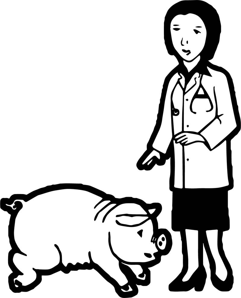 Doctor And Pig Coloring Page