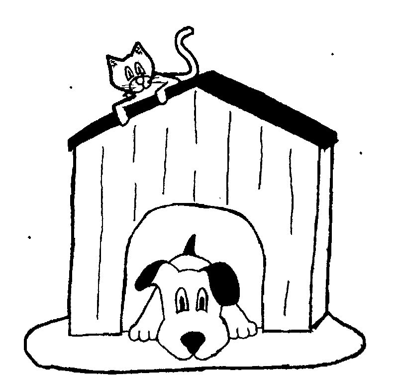 Dog House And Cat Coloring Page
