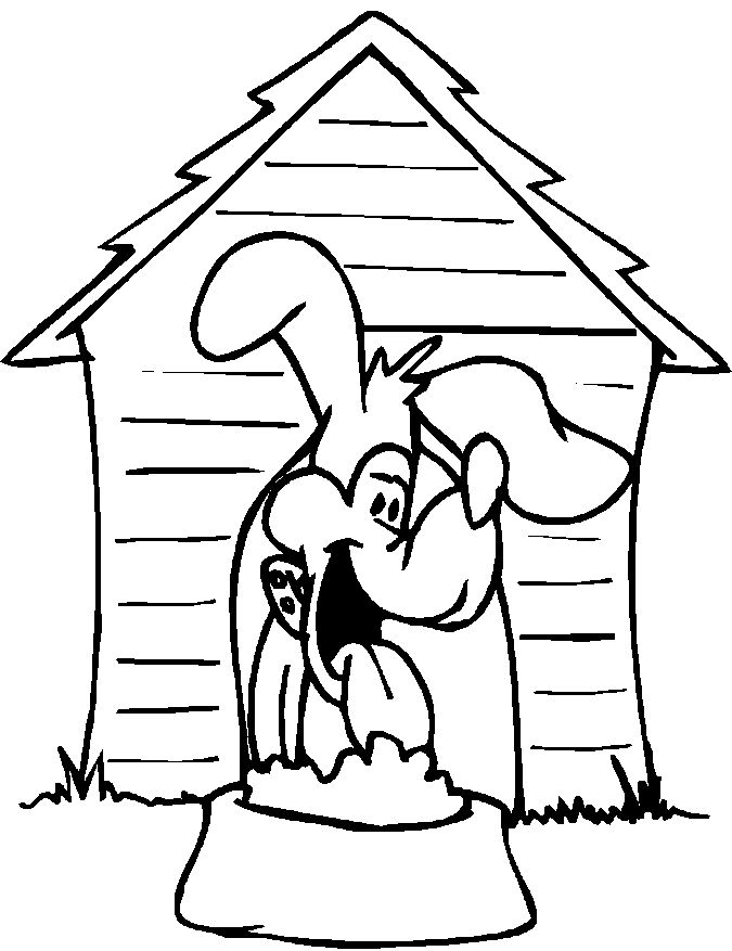 Dog House Coloring Page 001