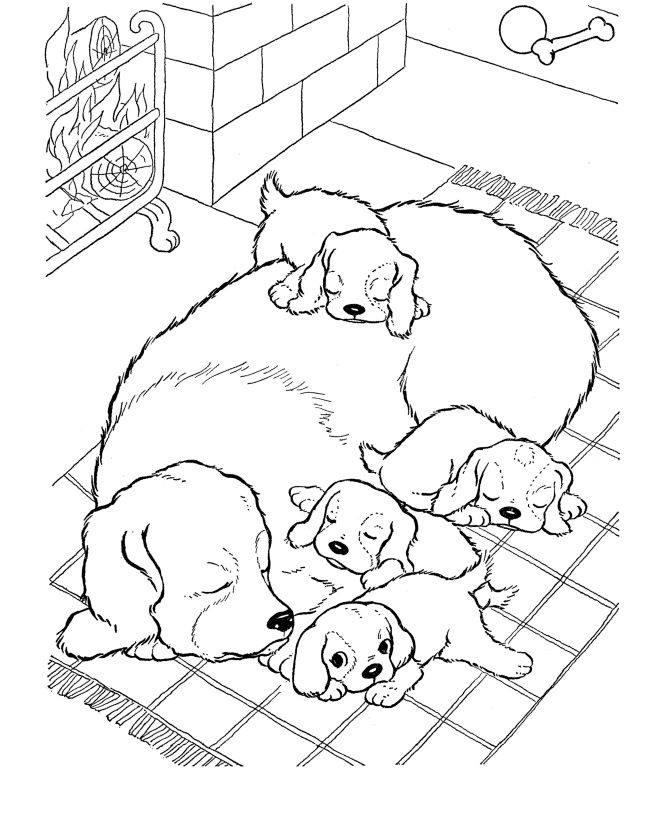 Dog With Puppies Animal Coloring Pages