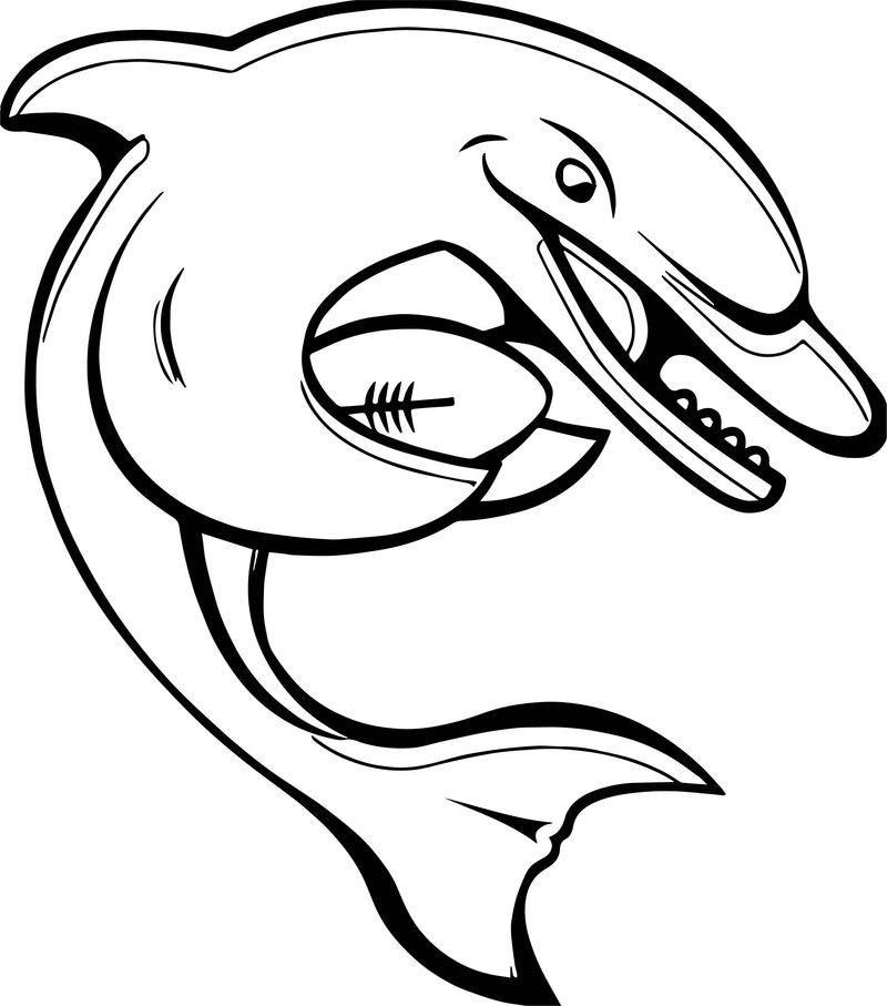 Dolphin Baseball Coloring Page