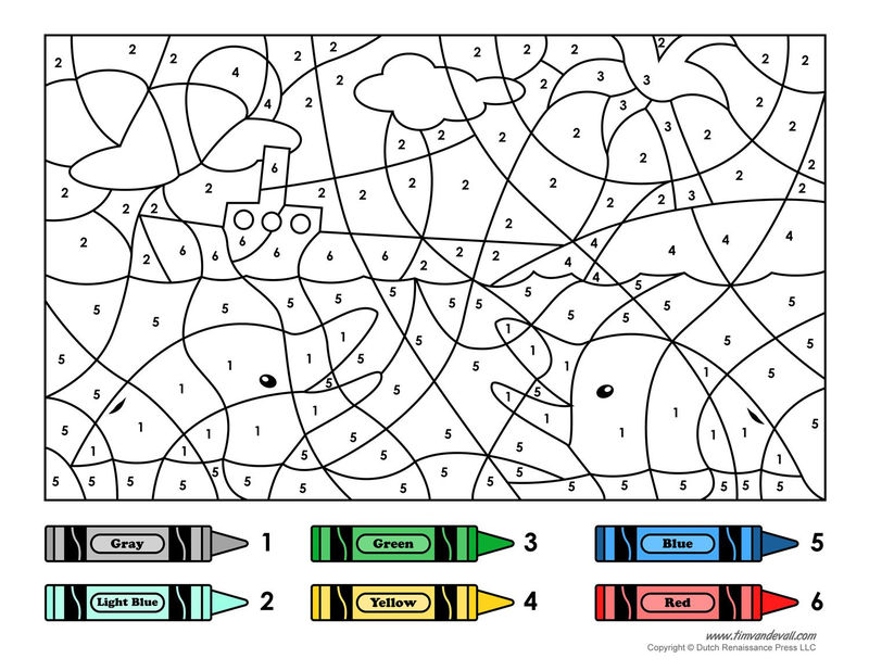 Dolphins And Boat Color By Number