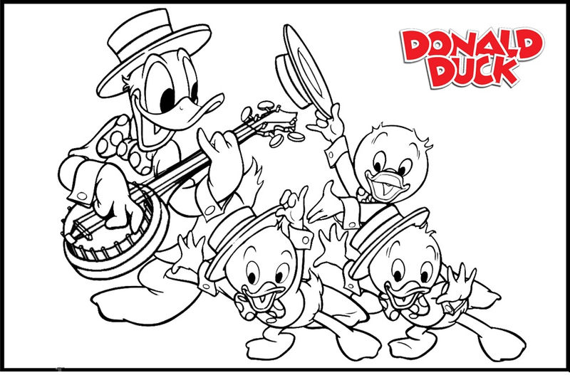 Donald Duck And Her Nephiews Coloring Pages 01