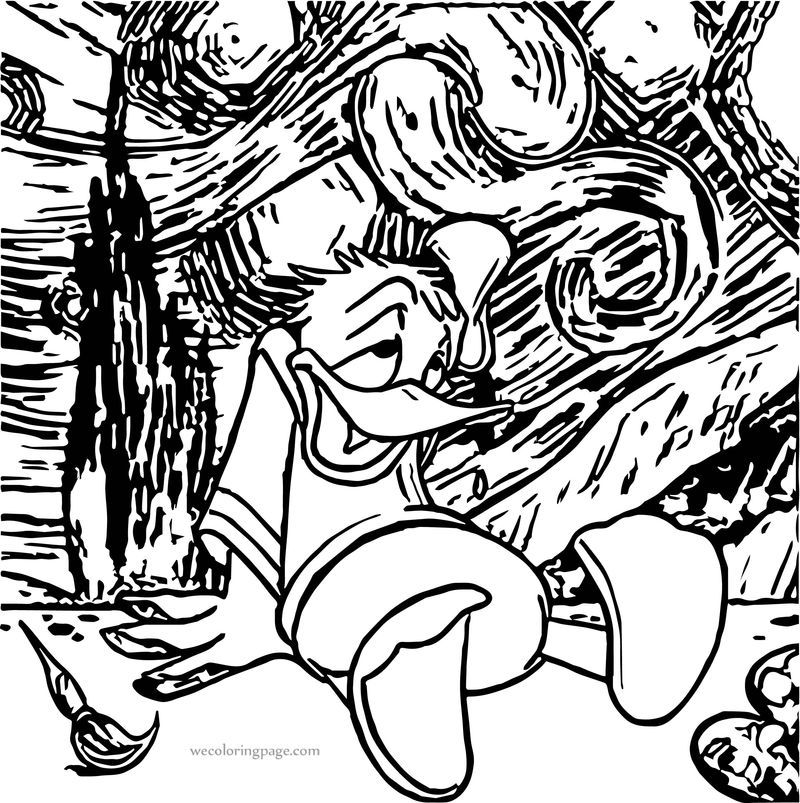 Donald Duck Art Attack Donald Duck Coloring Page