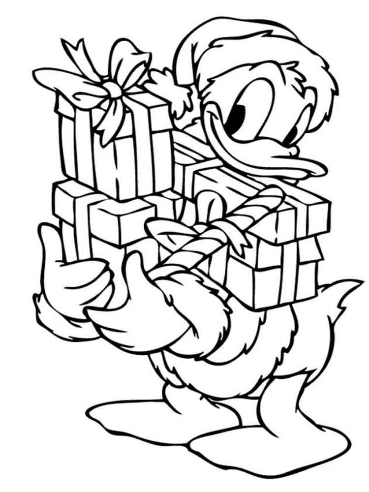 Donald Duck Gives Presents Coloring Page