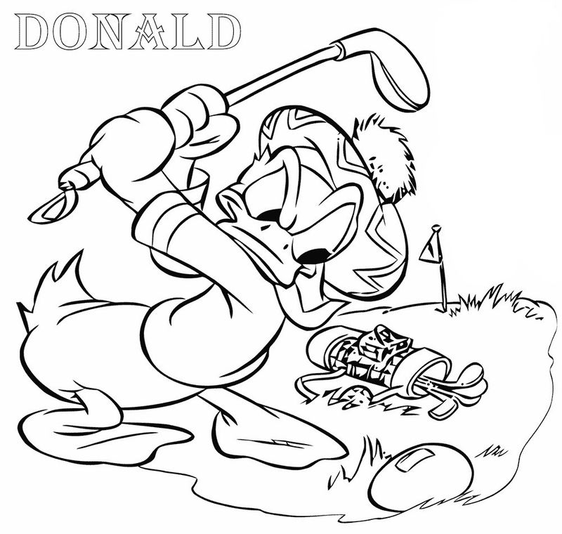Donald Duck Golf Coloring Pages