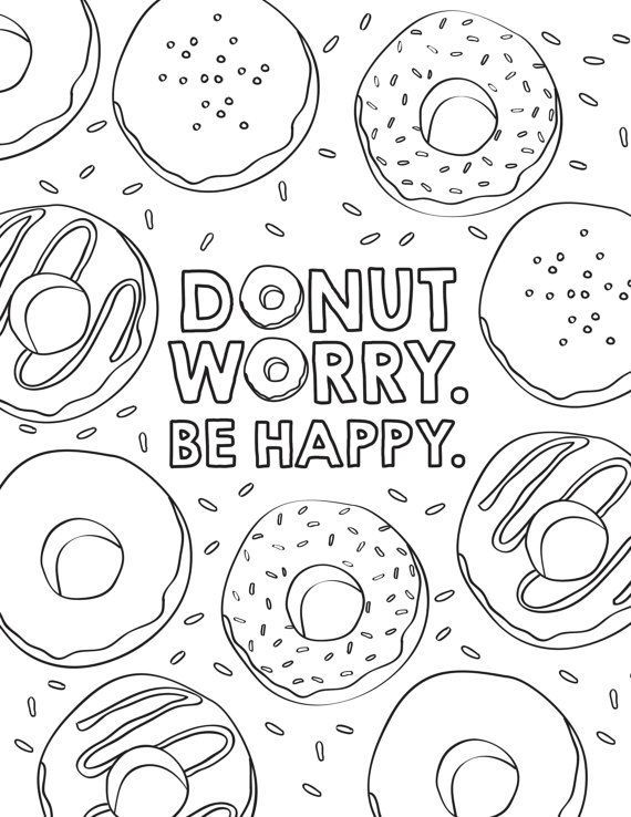 Dont Worry Be Happy Donut Coloring Pages