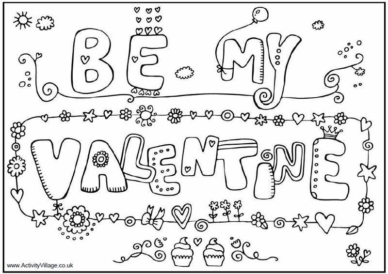 Doodle Valentines Day Coloring Page For Adults
