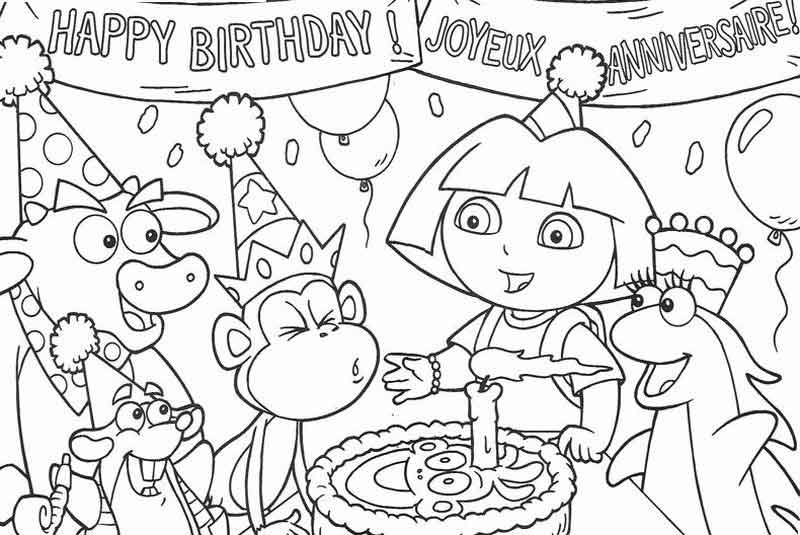 Dora The Explorer Birthday Coloring Pages