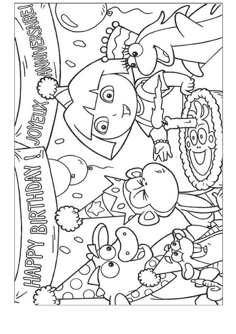 Dora Happy Birthday Coloring Pages