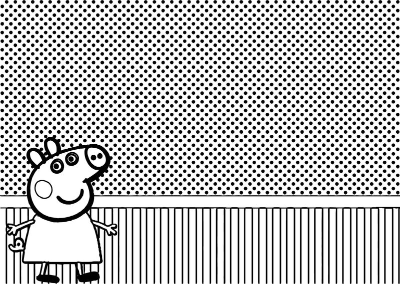 Dotting Background Peppa Pig Coloring Page