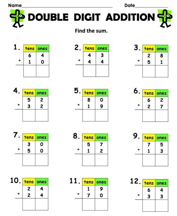 Double Digit Addition With Regrouping Worksheets Free