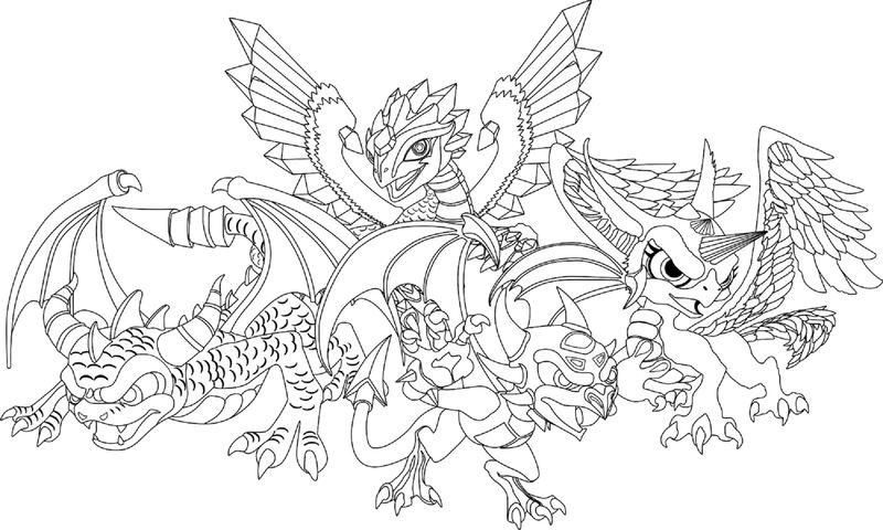 Dragon Colouring Pages Four Dragon 001
