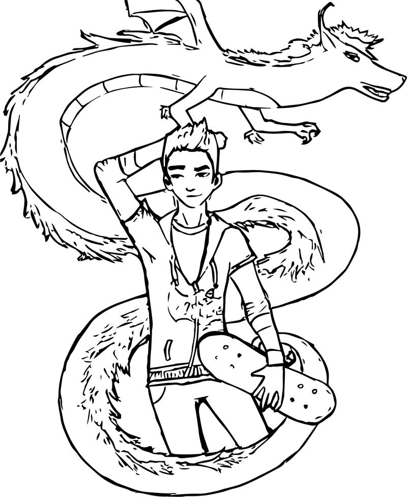 Drawing Style American Dragon Jake Long Coloring Page