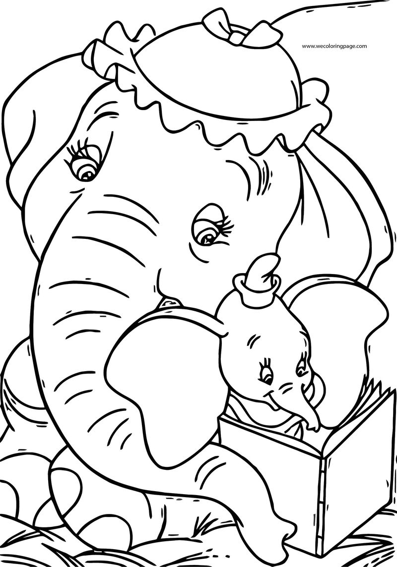 Dumbo Jumbo Reading Book Coloring Pages
