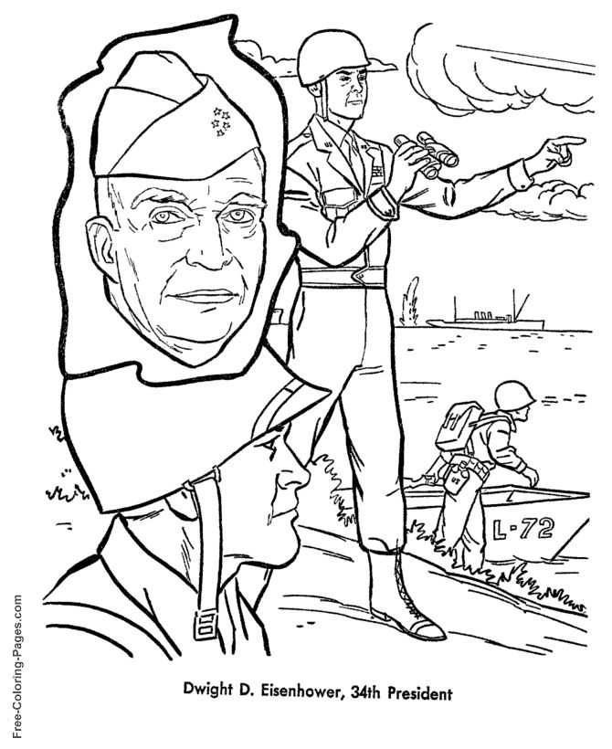Dwight d eisenhower presidents day coloring page