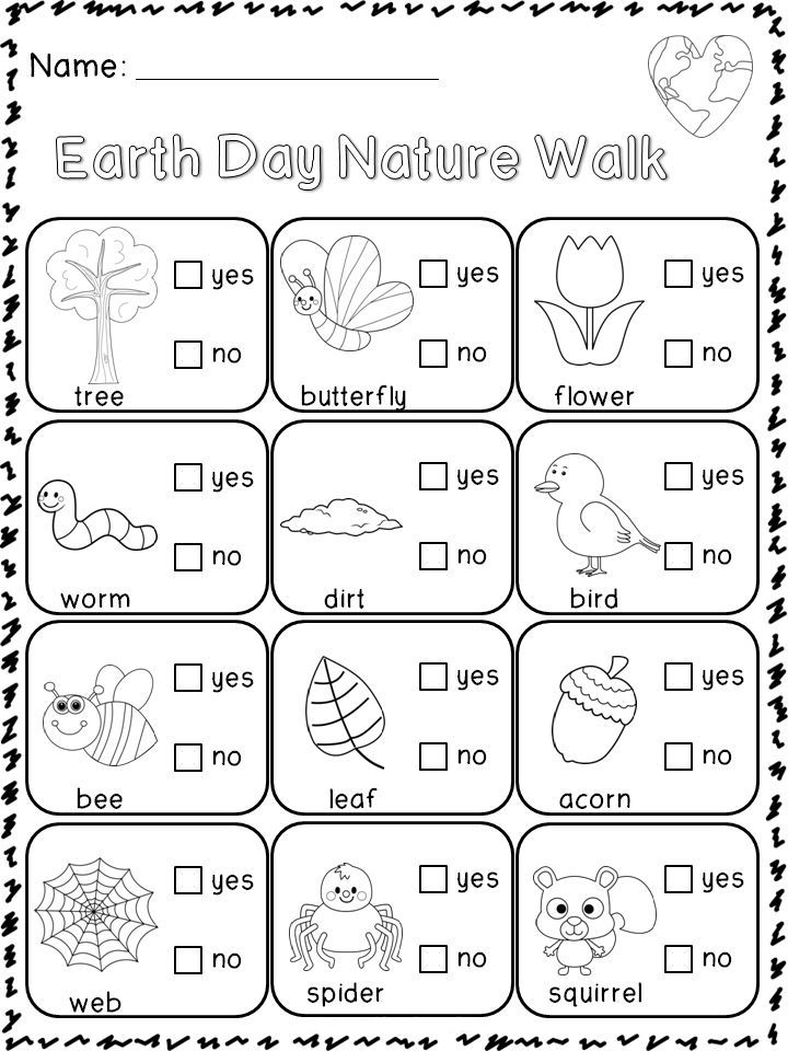 Earth Day Nature Walk Worksheets