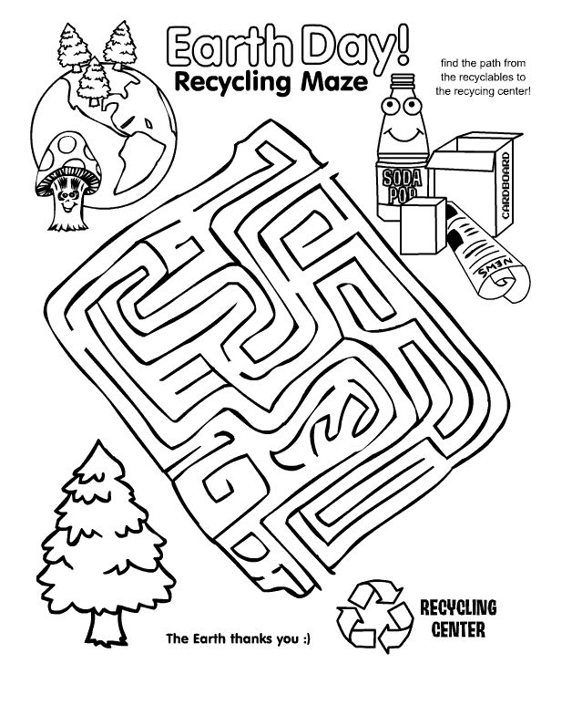 Earth Day Recycling Maze Worksheet