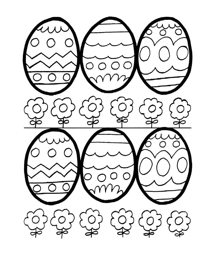Easter Coloring Pages Eggs And Flowers