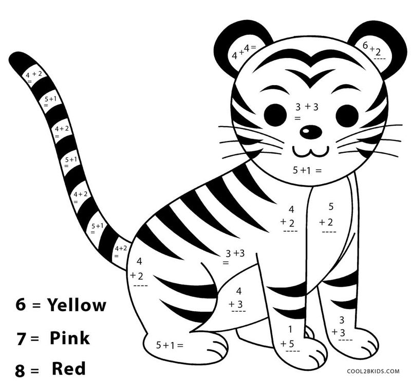 Easy Addition Color By Number Worksheets