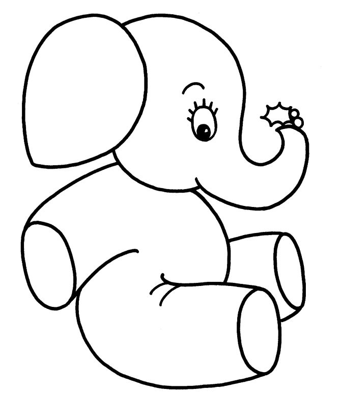 Easy Coloring Pages Elephant 001