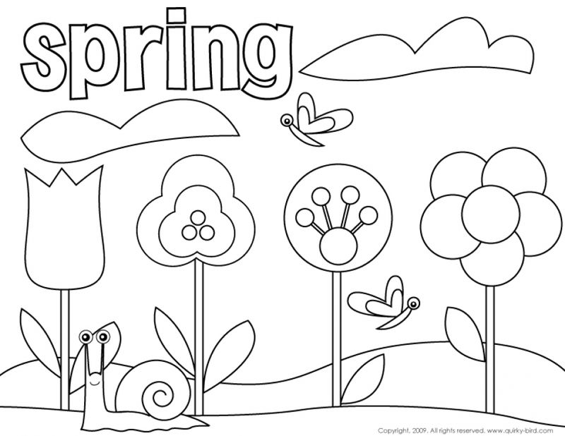 Easy Coloring Pages Spring Flowers