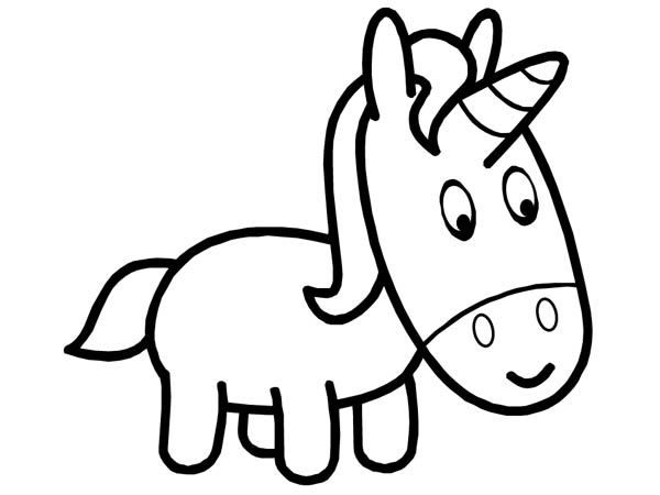 Easy Coloring Pages Unicorn