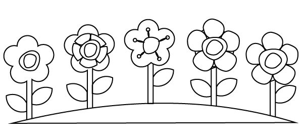 Easy Flower Garden Coloring Page
