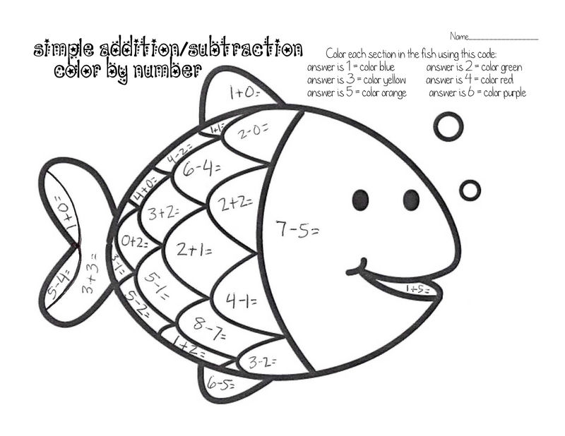 Easy Fun Fish Worksheets For Kids Color By Number