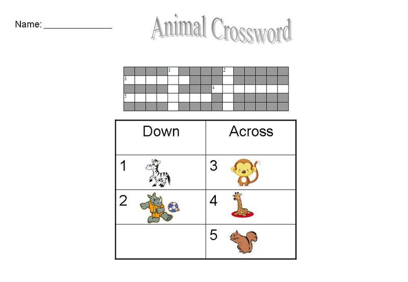 Easy Kids Crossword Puzzles Animal