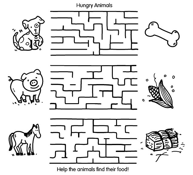 Easy Mazes Animal Printable