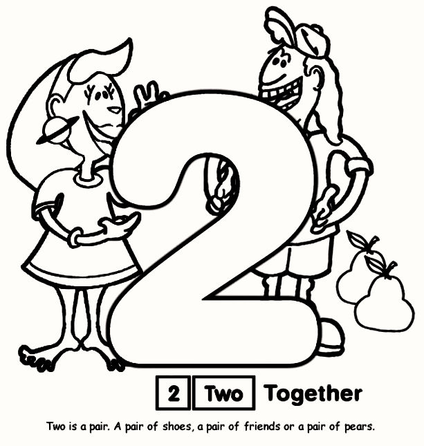 Easy Number Coloring Pages For 2 Four