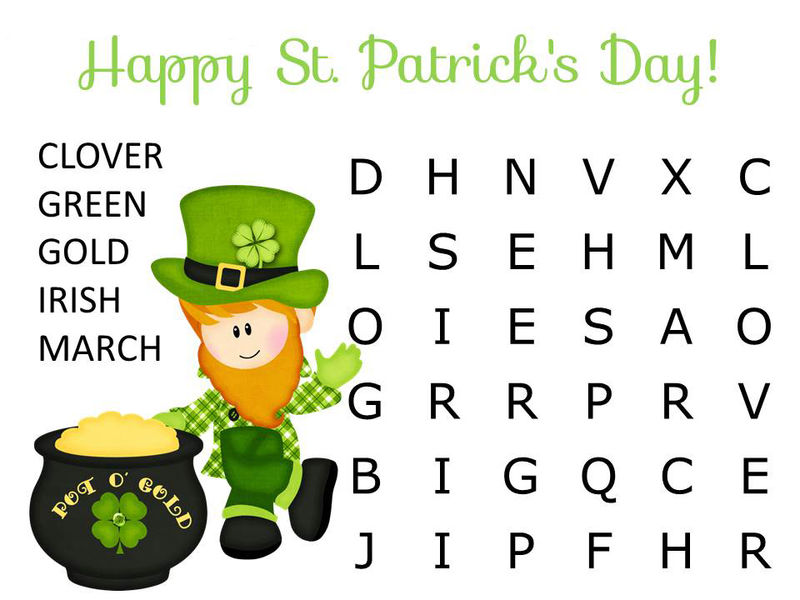 Easy St Patricks Day Word Search