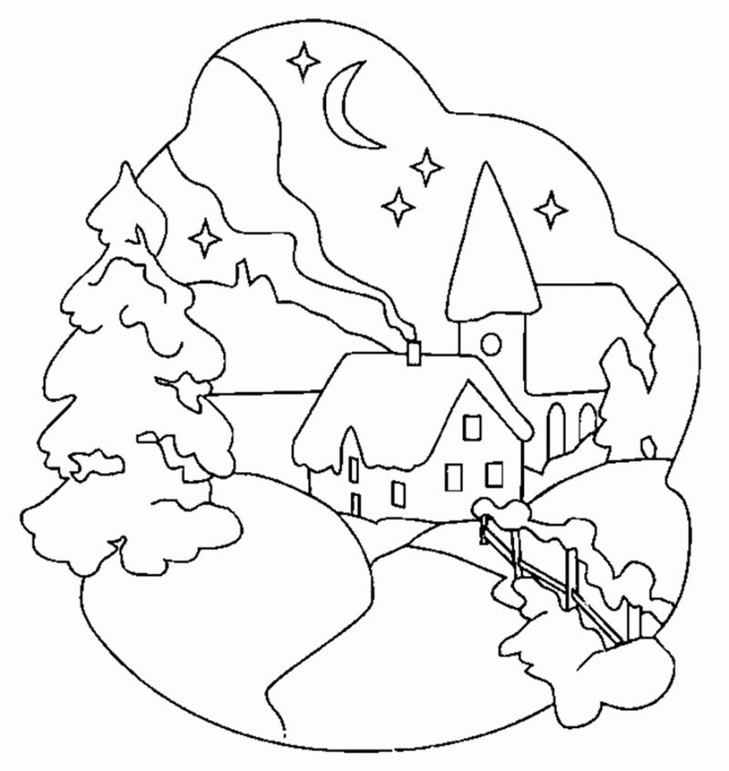 Easy Winter Scene Coloring Page