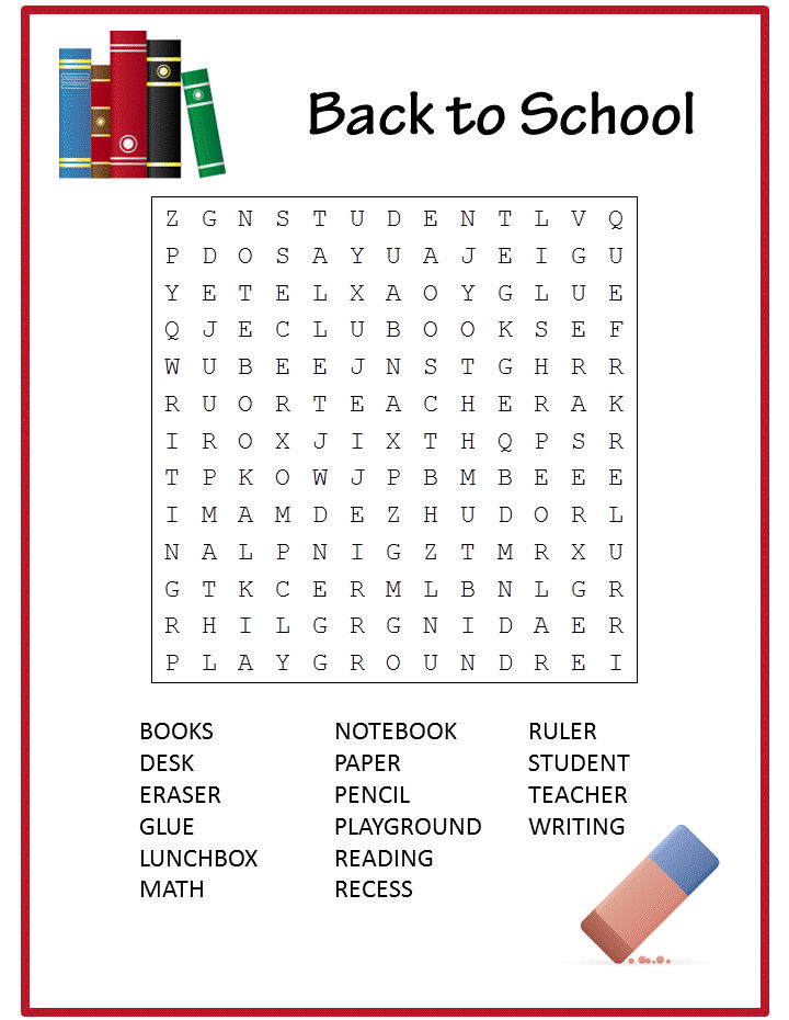 Easy Word Search Back To School