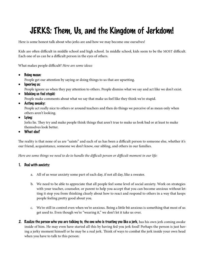 Education Worksheets For Teens