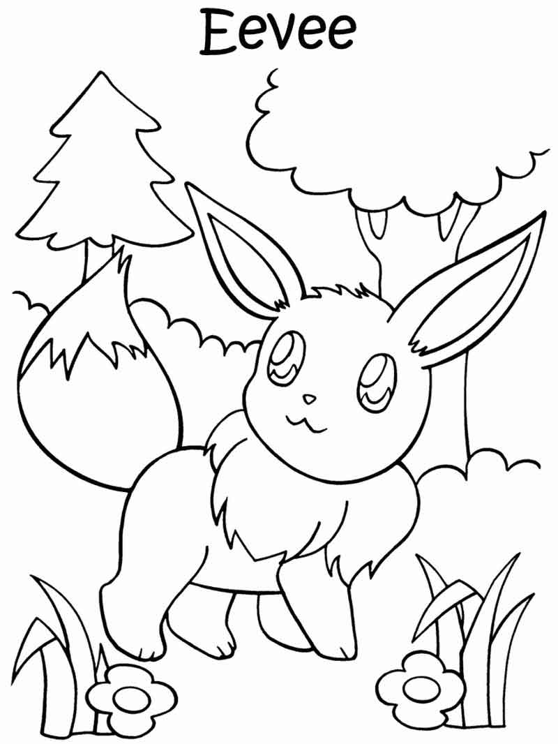Eevee In The Forest Pokemon Coloring Pages