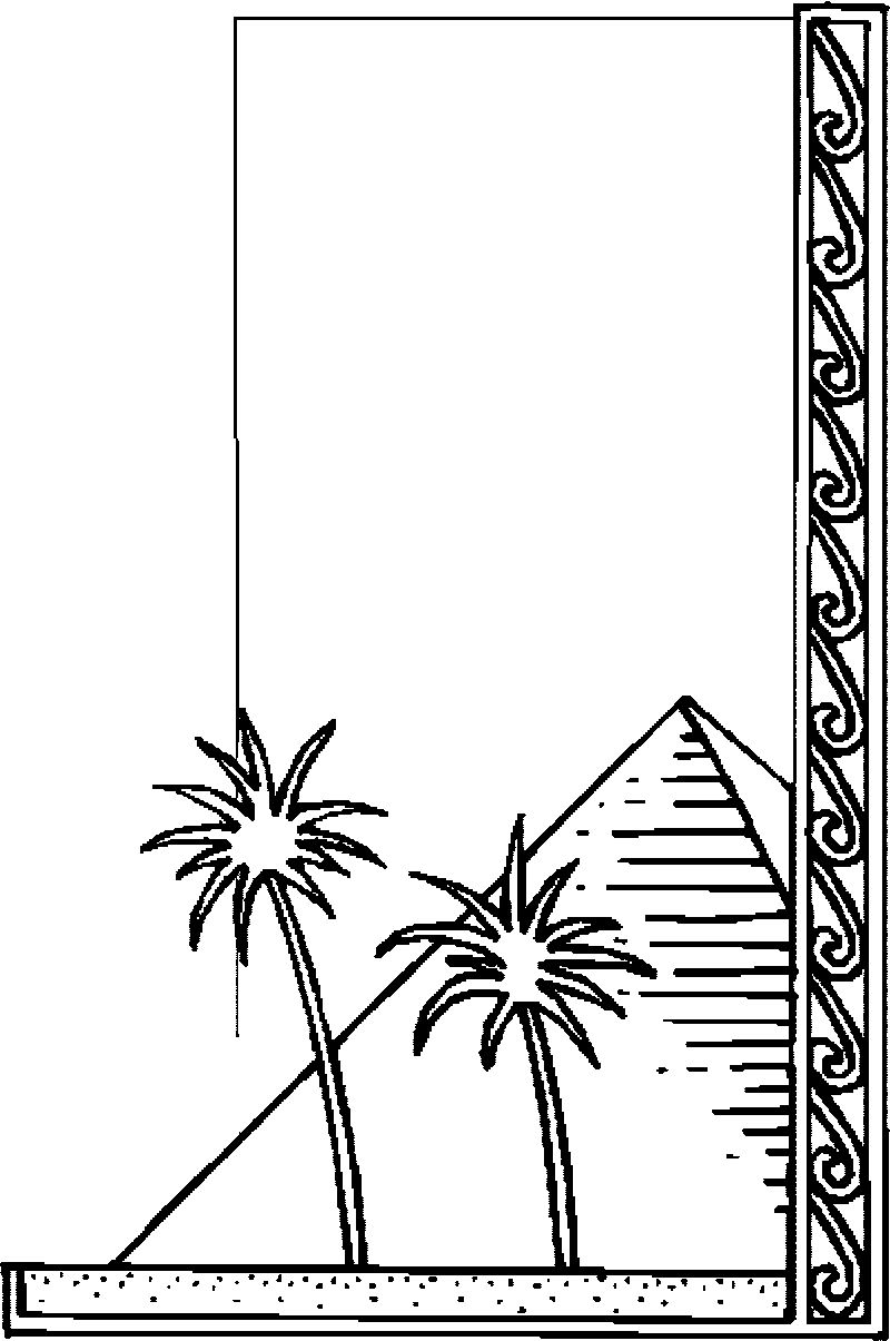 Egypt Border Trees Pyramide Coloring Page