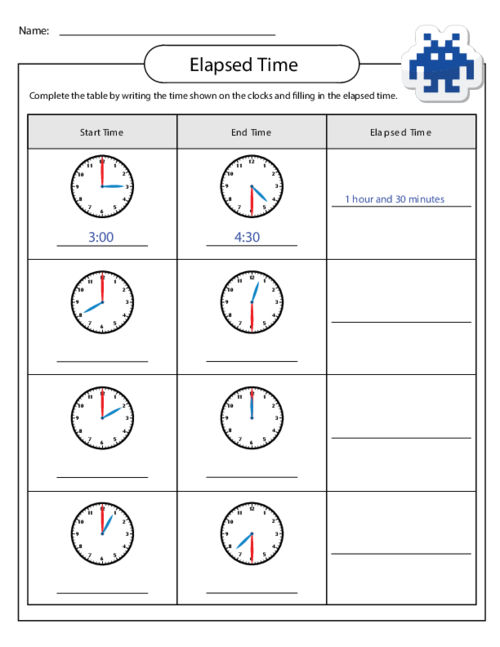 Elapsed Time Worksheets Children
