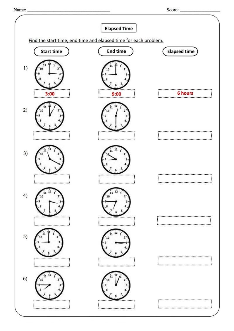 Elapsed Time Worksheets For 2nd Grade