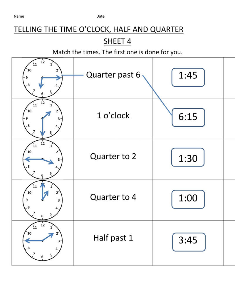 Elasped Time Worksheets Page