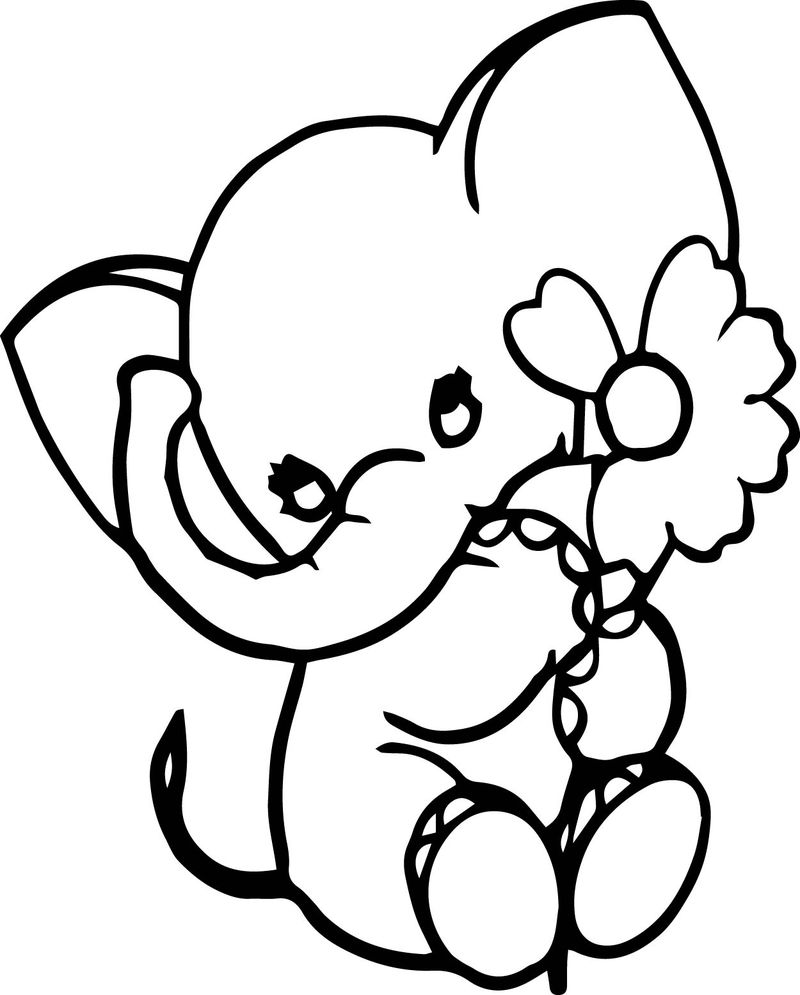 Elephant Chamomile Coloring Page