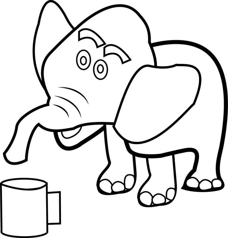 Elephant Cup Coloring Page