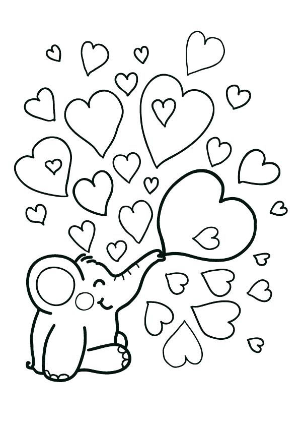 Elephant Heart Bubbles Coloring Page