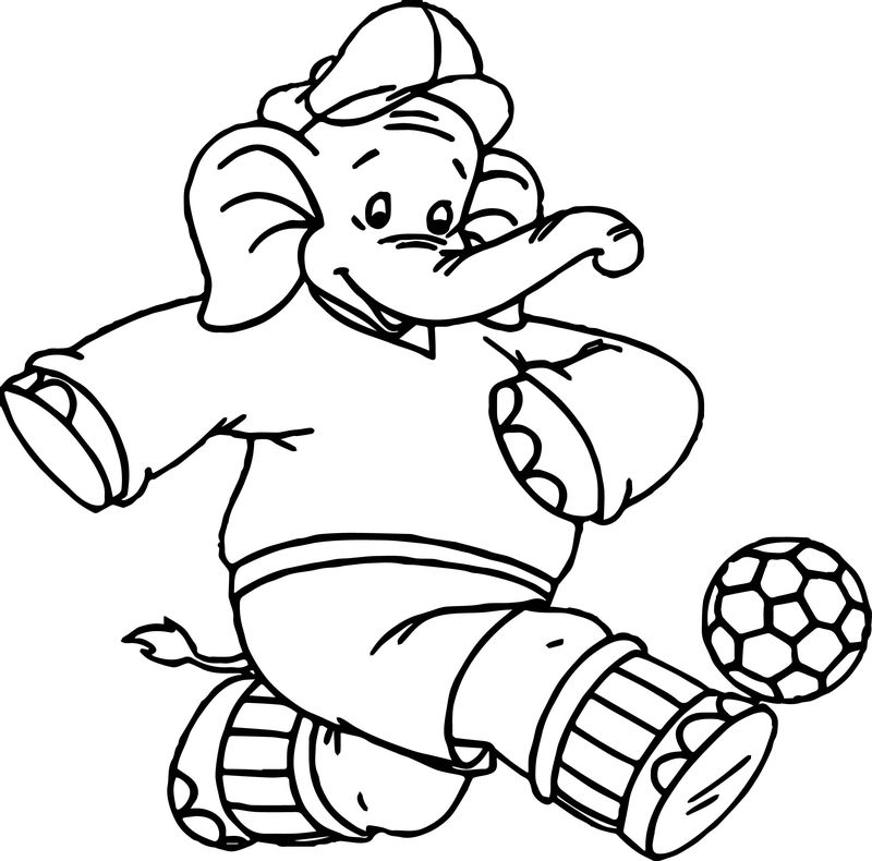 Elephant Kick Ball Coloring Page