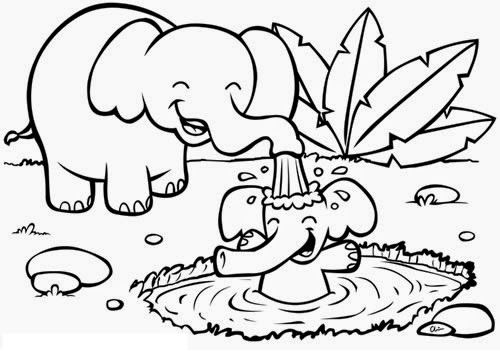 Elephant Mom Animal Coloring Pages