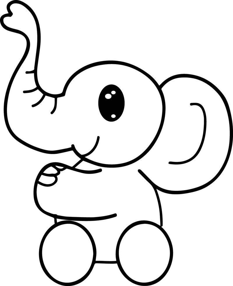 Elephant Side Baby Coloring Page