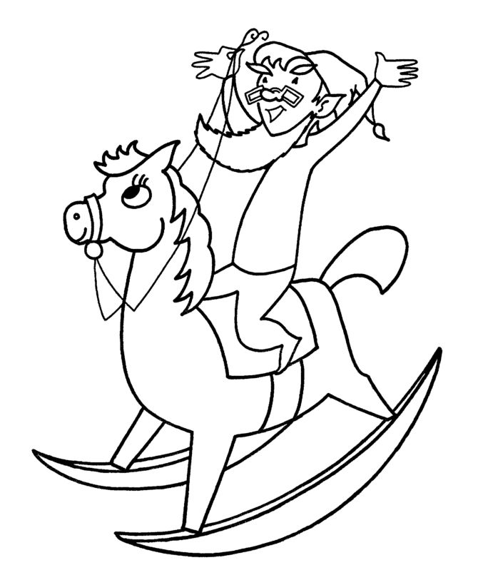 Elf Riding Toy Horse Coloring Page