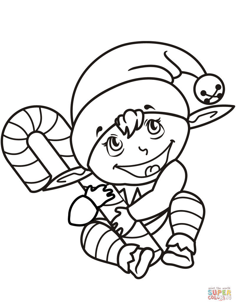 Elf With Candy Cane Coloring Pages